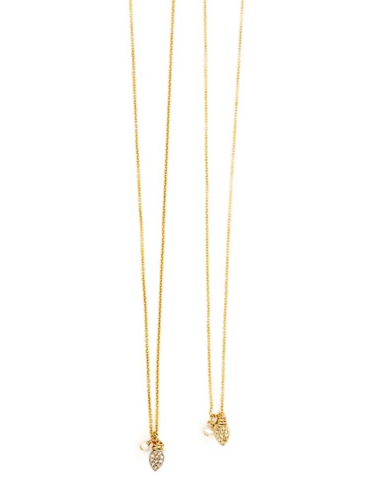 pave diamond petal pearl delicate charm necklace
