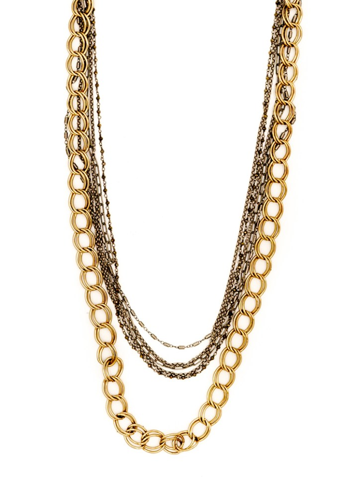 mixed chain double strand necklace