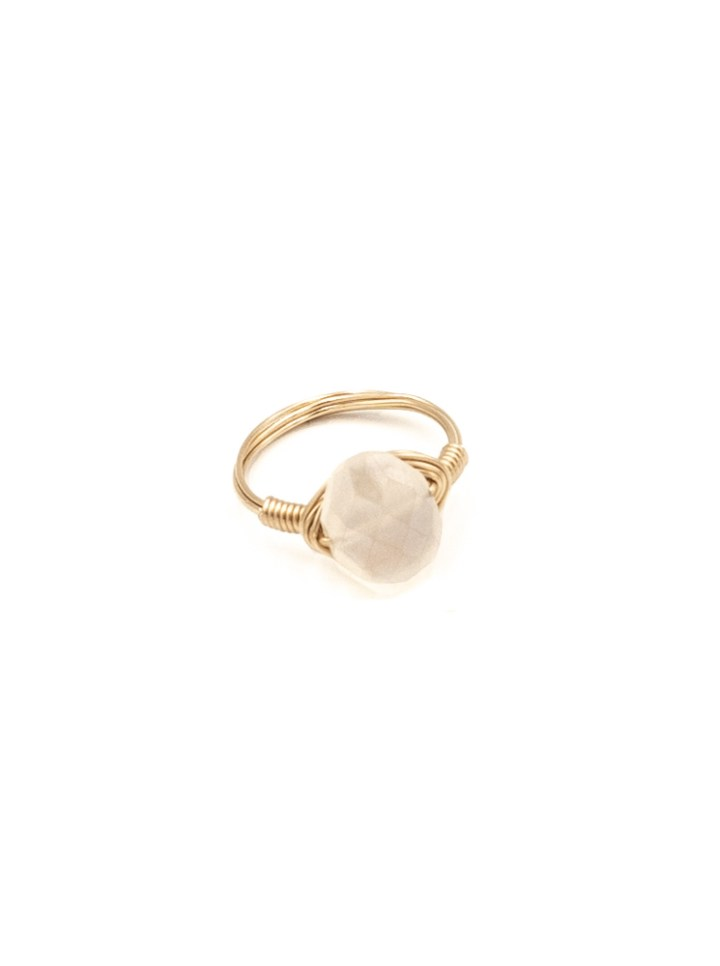 pearl chalcedony oval wrapped ring