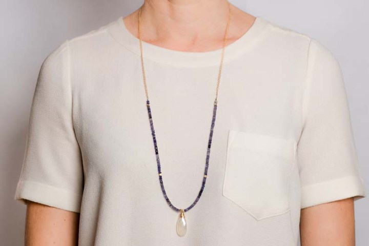 iolite and pearl chalcedony strung long necklace