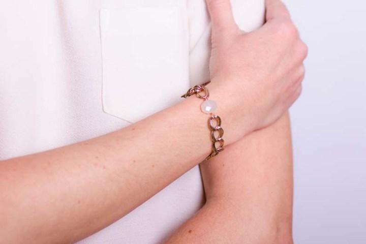 antique pearl chalcedony bracelet on model