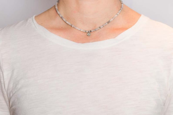 silverite and diamond strung short necklace on model