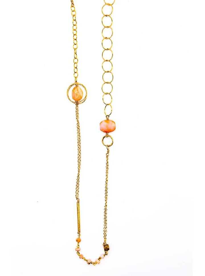 Pink Opal precious metal mixed chain long necklace