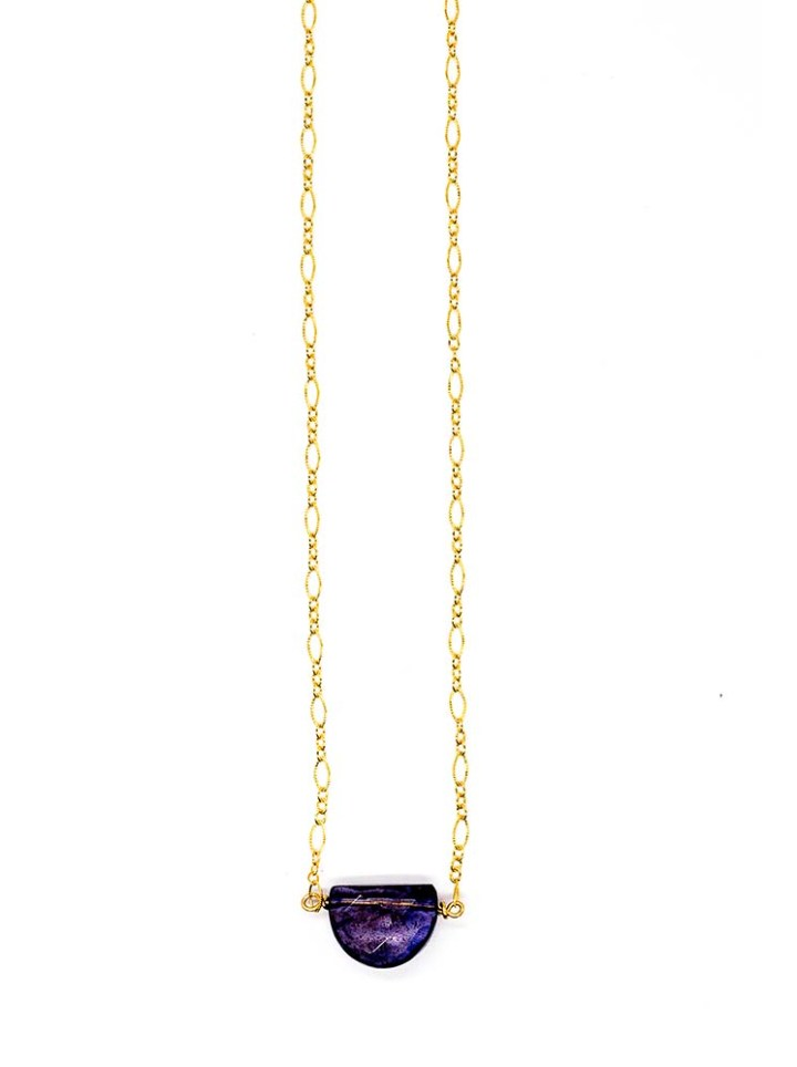 iolite dome filigree short necklace, 14k gold filled handcraafted jewelry