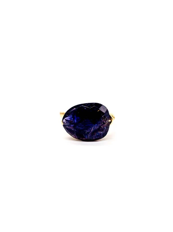 iolite unusual cut hand wrapped ring