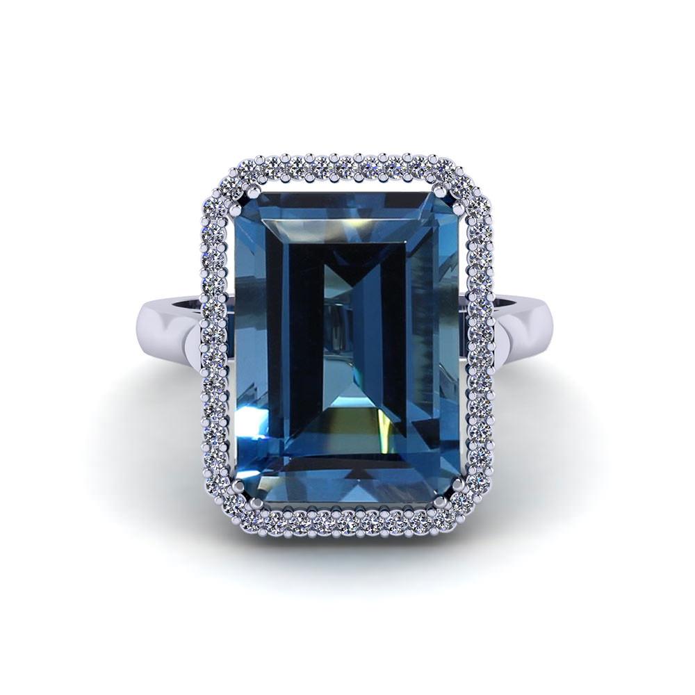Emerald Cut Blue Topaz Halo Ring Jewelry Designs