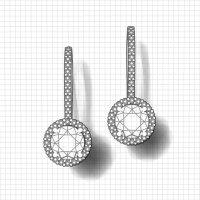 Two Carat Dangle Halo Earrings | Jewelry Designs