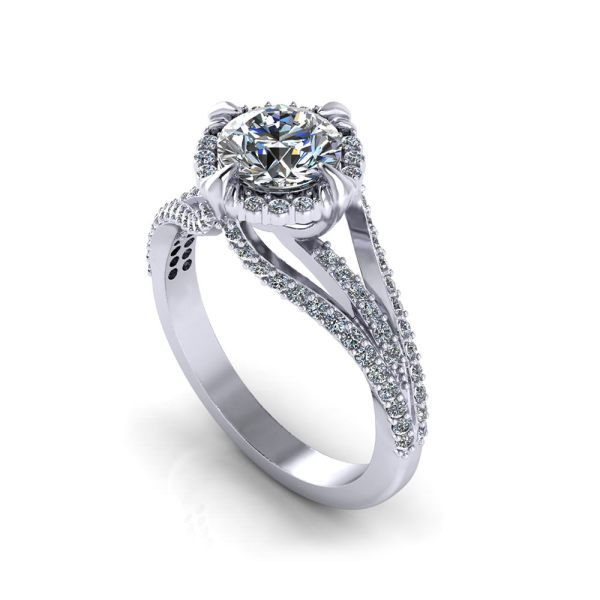 Unique Halo Engagement Ring - Jewelry Designs