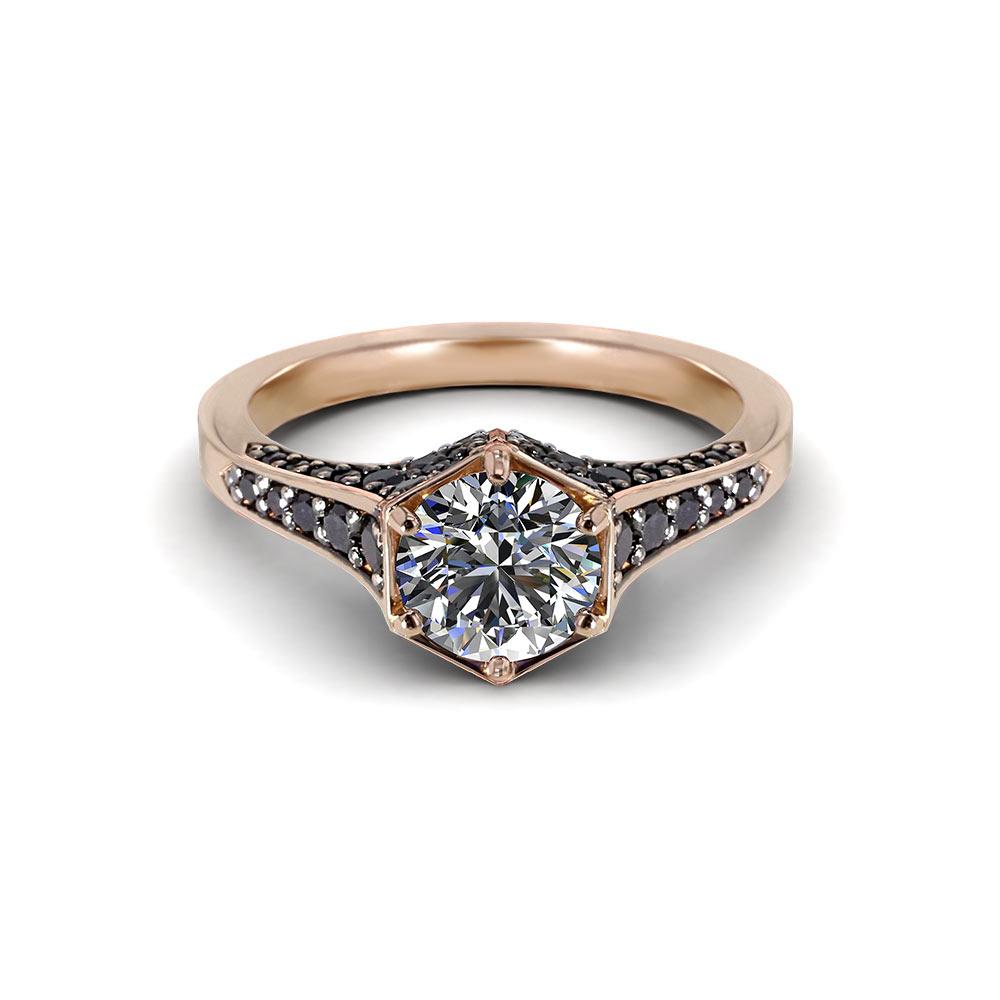 Black Pave Rose Gold Engagement Ring
