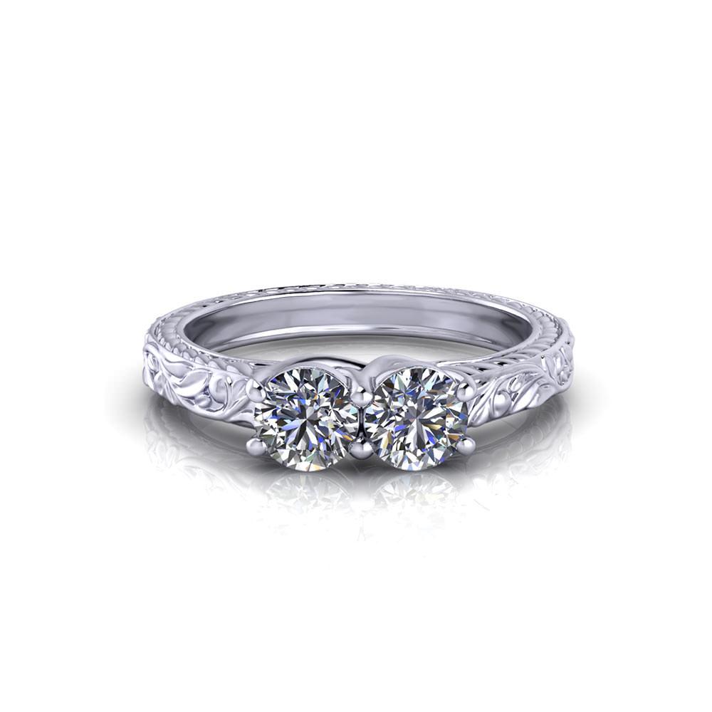 floral two stone diamond
