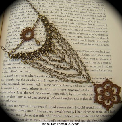 Pamela Quevedo's brass necklace with tatted pendant
