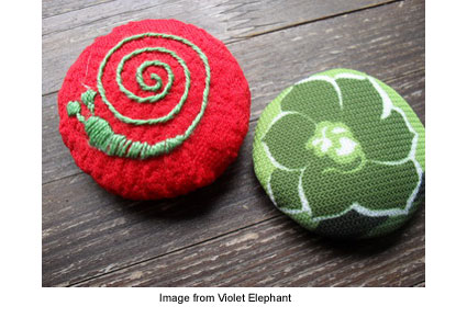 fabric brooches from Violet Elephant