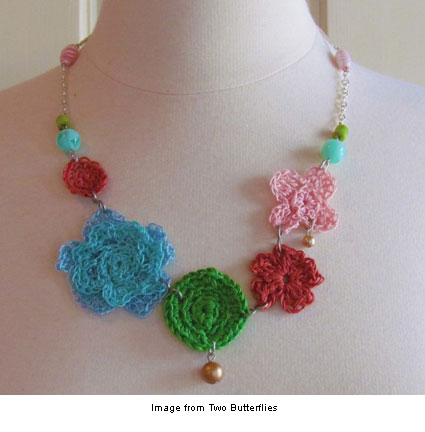 colorful crochet necklace from Two Butterflies