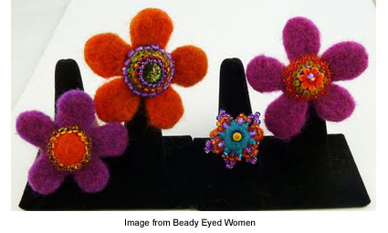 felted, beaded rings from Jeannette Cook