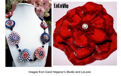 patriotic necklace from Carol Heppner and flower tutorial from LoLovie