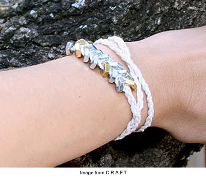 bracelet made from household twine and hex nuts
