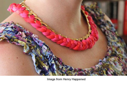 chain and braided floss necklace
