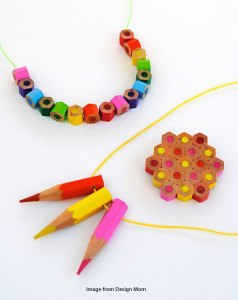 beads made from colored pencils