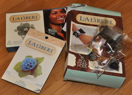 Ring kit, ruffle bow cuff kit, and swirl leaves pendant kit from Laliberi