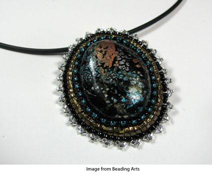 silver leaf polymer clay cabochon necklace with peyote stitch