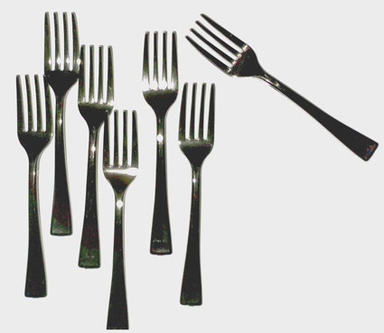 tiny plastic forks scanned with the HP TopShot's 3-D scanner.