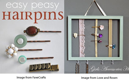 easy peasy hair pins from I Love to Create and Accessory Holder from Love and Rosen