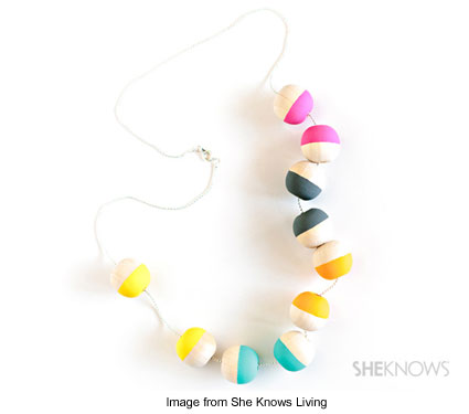 necklace made from painted wooden beads