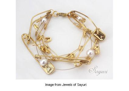 elegant safety pin jewelry from Jewels of Sayuri