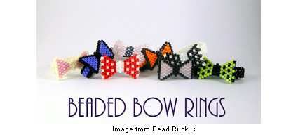 beaded bow rings from MaeMaeMills.com