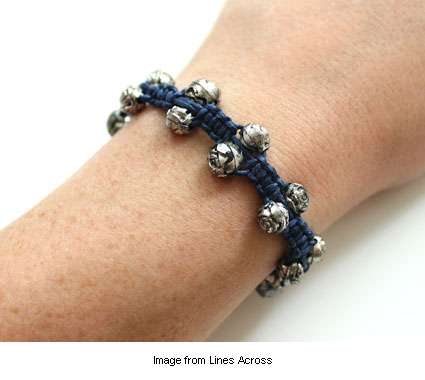 knotted hemp bracelet with silver rose beads by Rachel at Lines Across