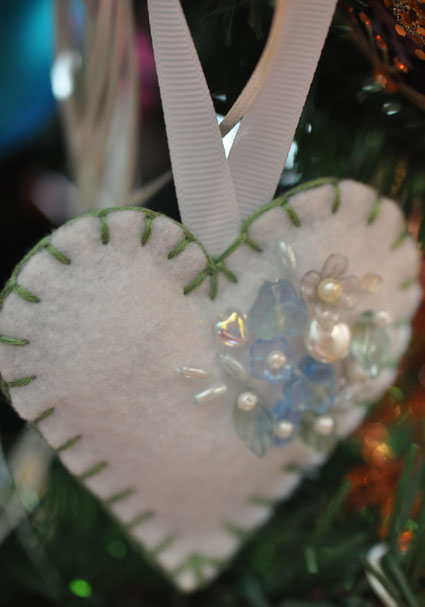Felt and beaded ornament