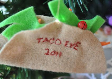 Taco Eve ornament made of felt.