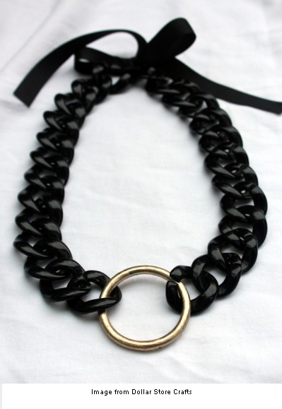 Chunky black and gold necklace from Dollar Store Crafts