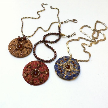 Fancy Embroidered Pendants Tutorial