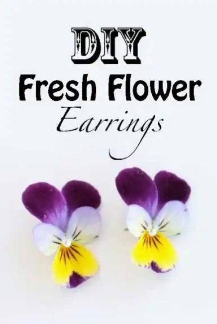 diy fresh flower earrings how to make