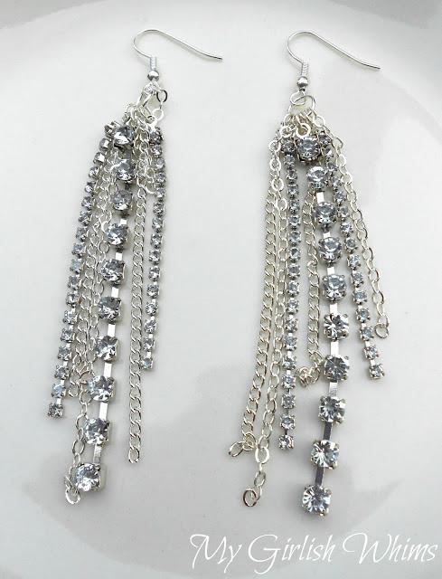 Chain and Rhinestone Earrings