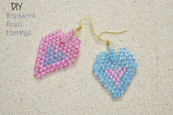 Free-Beadwork-Techniques-on-Making-Heart-in-heart-Brick-Stitch-Earrings-step4