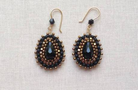 Beaded Backstitch Bling Earrings