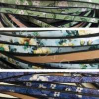 Jewelry Making Supplies - Color Flower Printed Genuine Leather Flat Cord