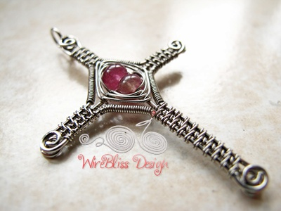 Religious Pendant Wire Wrapped And Woven Cross Jewelry