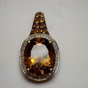 Citrine & Diamond Gold Pendant