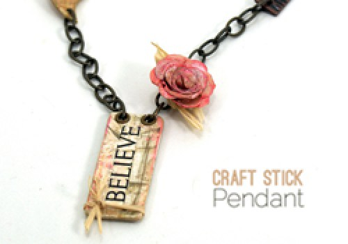 craft stick pendant, DIY altered art jewelry tutorial