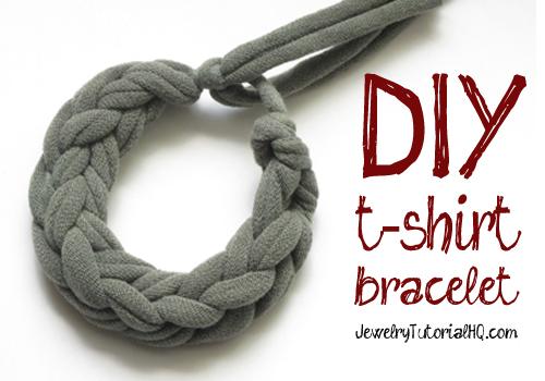 how to make a jersey knit t-shirt bracelet (video tutorial)