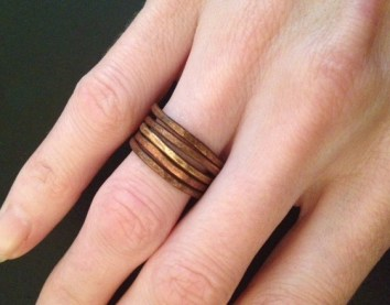 hammered brass stack rings