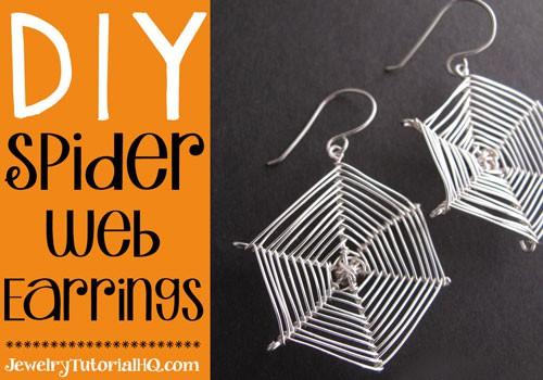 diy halloween spider web earrings