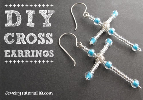 DIY Beaded Cross Earrings
