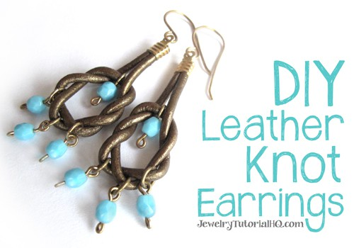 DIY Leather Knot EArrings: Learn to make a fun pair of earrings with leather and beads in this free video tutorial from Jewelry Tutorial HQ!