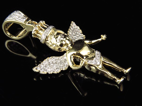 10k Yellow Gold Crowned Angel Cherub Genuine Diamond