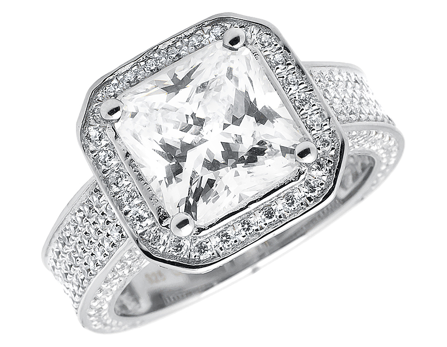 Ladies White Gold Finish Solitaire Cushion Lab Diamond