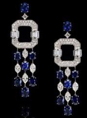 14 oval sapphires (18.01ctw), eight marquise-shaped diamonds (4.64ctw), carre-cut diamonds (3.81ctw), round brilliant diamonds (3.90ctw) on platinum and 18k white gold.